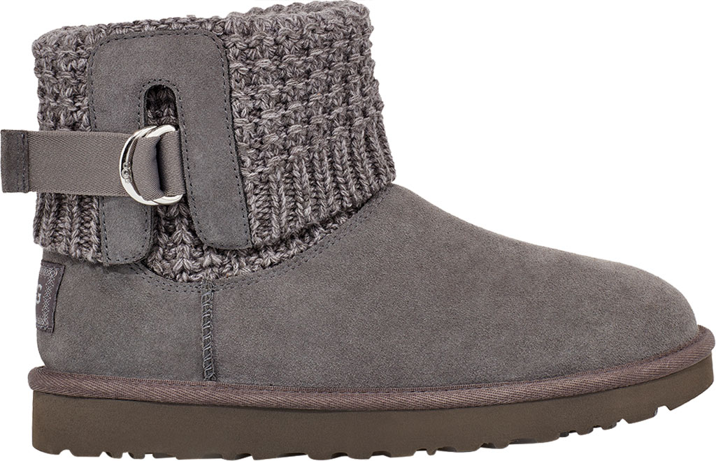 Women's UGG Classic Solene Mini Sweater Bootie, Charcoal Soft Knit, large, image 1