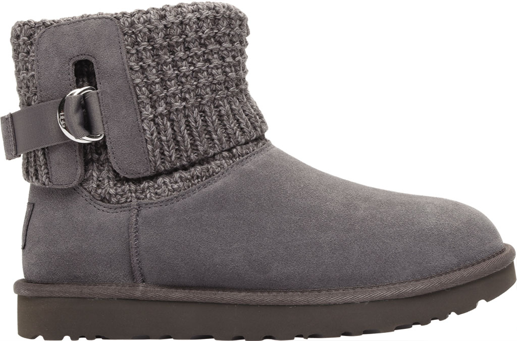 Women's UGG Classic Solene Mini Sweater Bootie, Charcoal Soft Knit, large, image 2