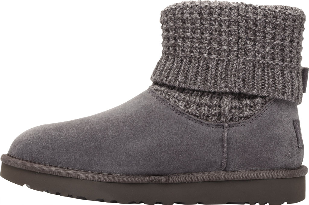 Women's UGG Classic Solene Mini Sweater Bootie, Charcoal Soft Knit, large, image 3
