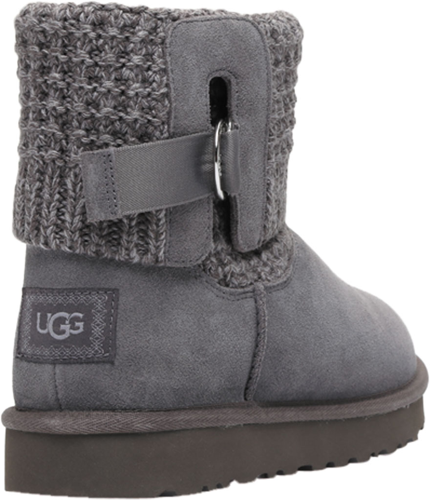 Women's UGG Classic Solene Mini Sweater Bootie, Charcoal Soft Knit, large, image 4