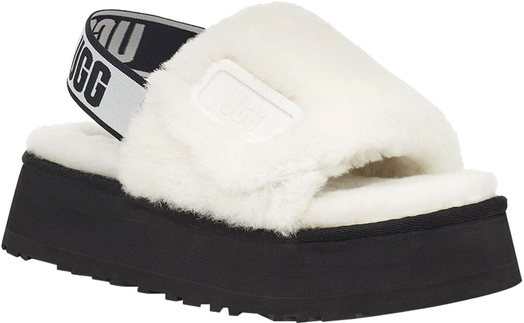 Women's UGG Disco Slide Flatform Slipper, White Sheepskin, large, image 1