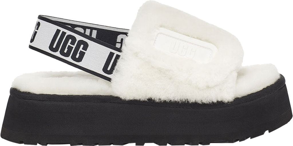 Women's UGG Disco Slide Flatform Slipper, White Sheepskin, large, image 2