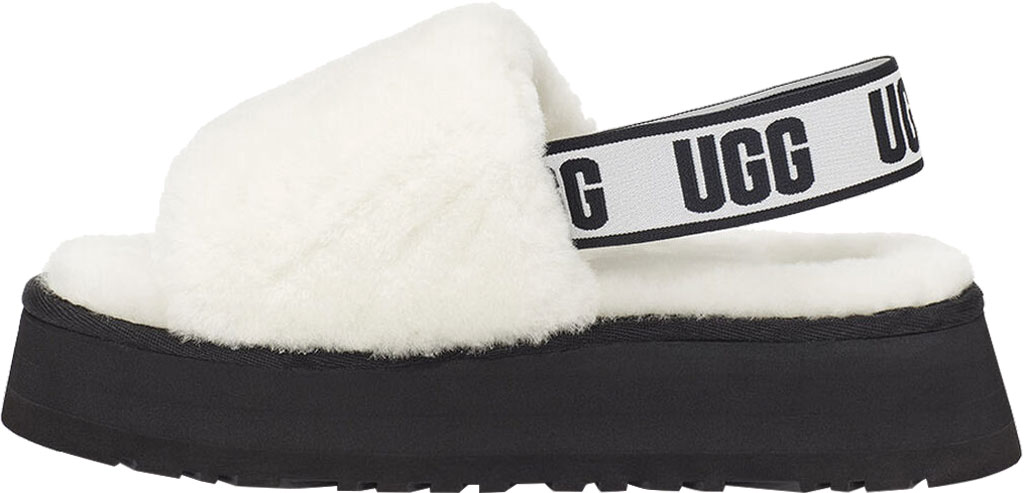 Women's UGG Disco Slide Flatform Slipper, White Sheepskin, large, image 3