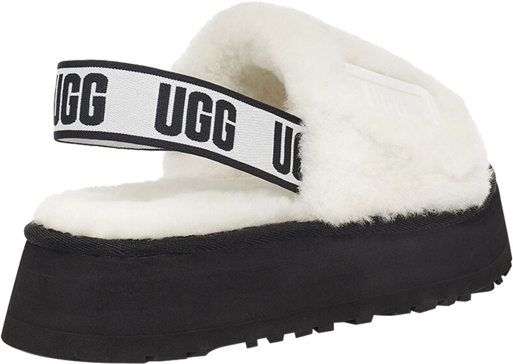 Women's UGG Disco Slide Flatform Slipper, White Sheepskin, large, image 4