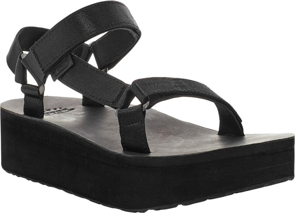 Women's Teva Flatform Universal Satin Sandal, Black Luxe Satin, large, image 1