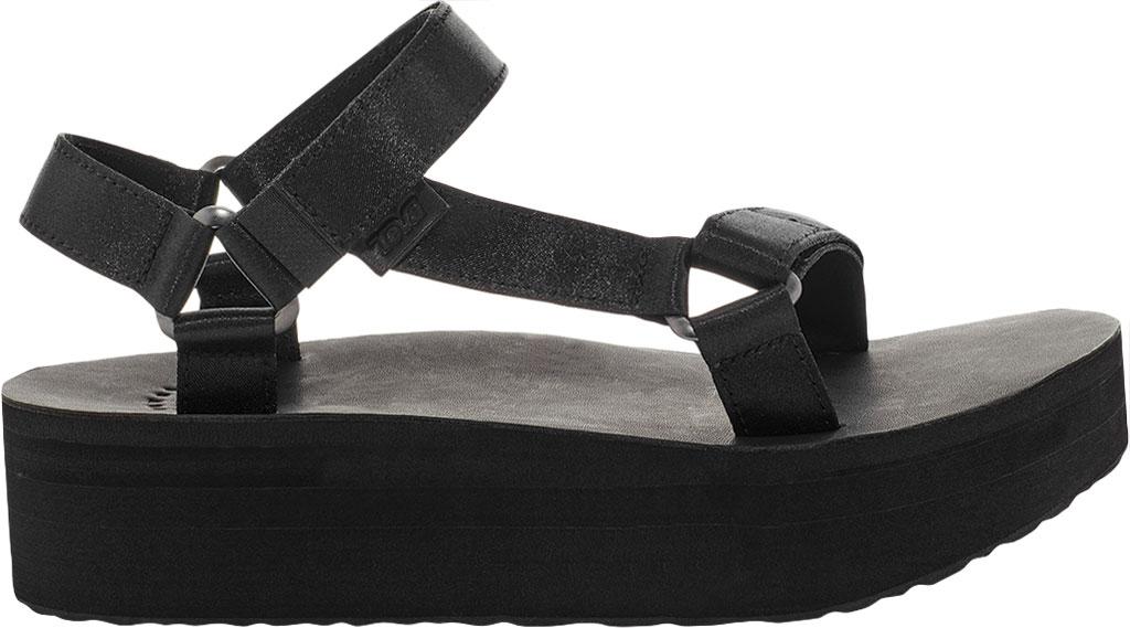 Women's Teva Flatform Universal Satin Sandal, Black Luxe Satin, large, image 2