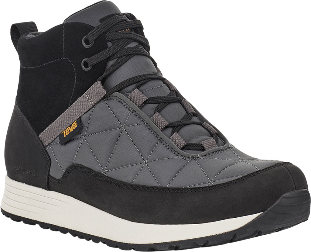 Men's Teva Ember Commute Waterproof Boot, Black/Grey Leather/Recycled Polyester, large, image 1
