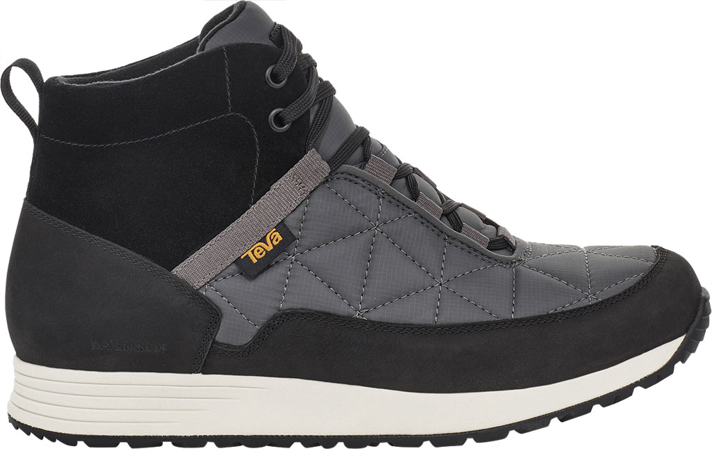Men's Teva Ember Commute Waterproof Boot, Black/Grey Leather/Recycled Polyester, large, image 2