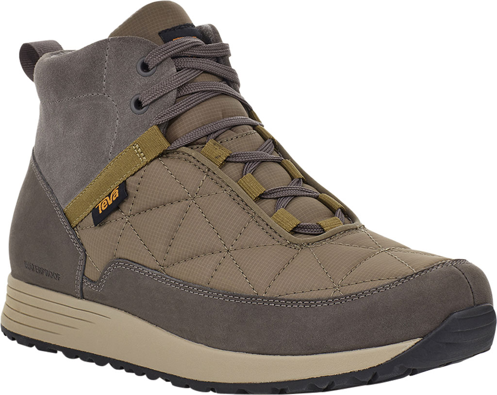 Men's Teva Ember Commute Waterproof Boot, Grey/Olive Leather/Recycled Polyester, large, image 1