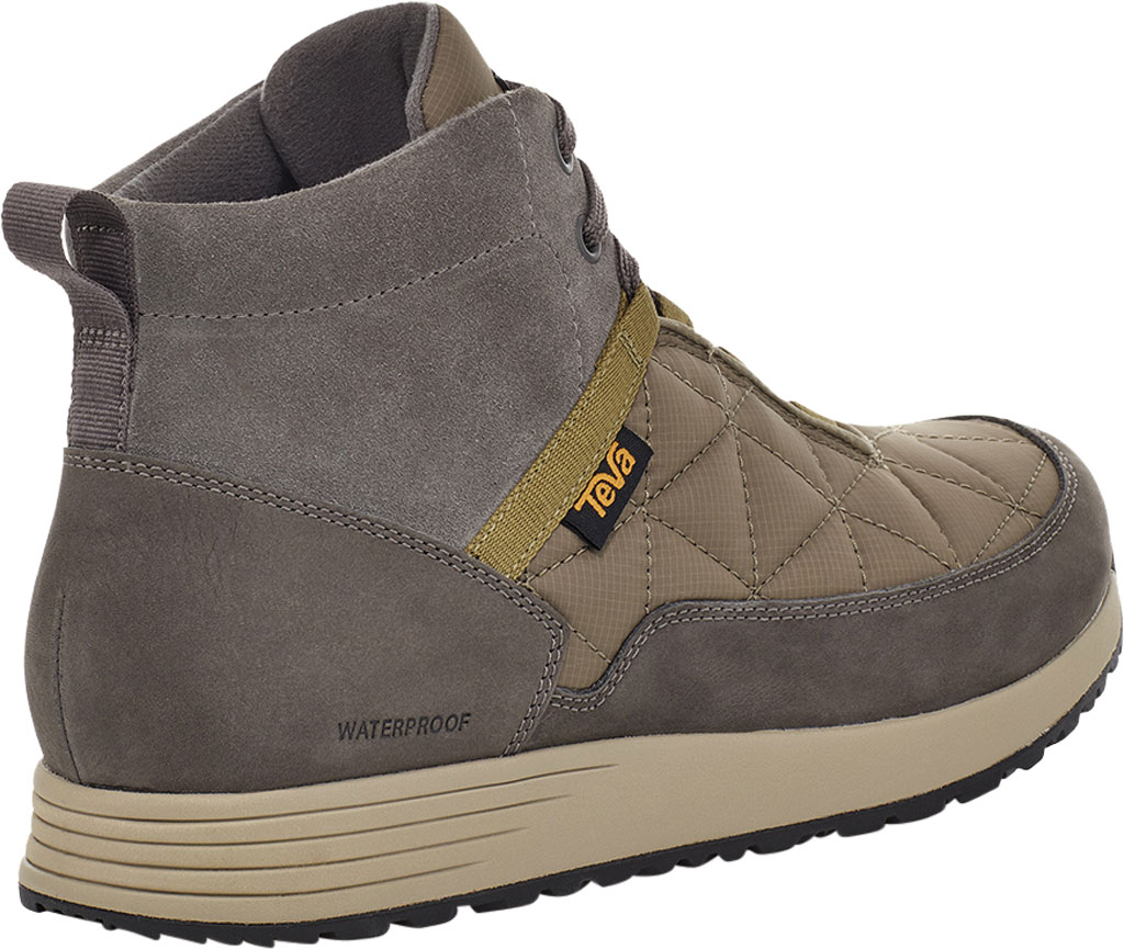Men's Teva Ember Commute Waterproof Boot, Grey/Olive Leather/Recycled Polyester, large, image 4