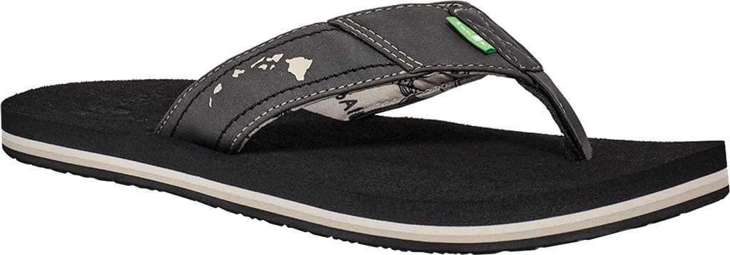 Men's Sanuk Beer Cozy Stacker HI Flip Flop, Black Synthetic Leather, large, image 1