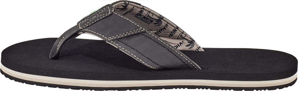 Men's Sanuk Beer Cozy Stacker HI Flip Flop, Black Synthetic Leather, large, image 3