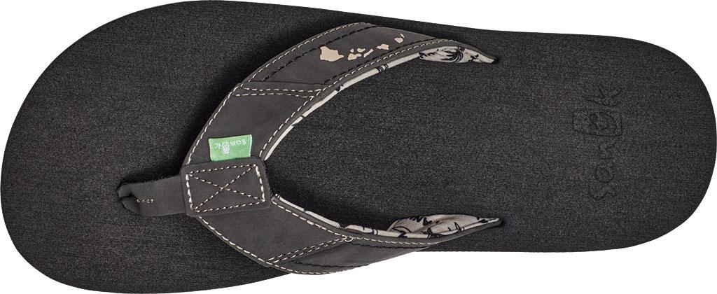 Men's Sanuk Beer Cozy Stacker HI Flip Flop, Black Synthetic Leather, large, image 5
