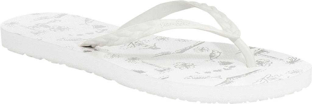 Women's Sanuk Slim Braidy Hawaii Flip Flop, White Rubber, large, image 1