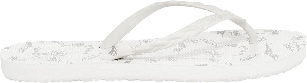 Women's Sanuk Slim Braidy Hawaii Flip Flop, White Rubber, large, image 2