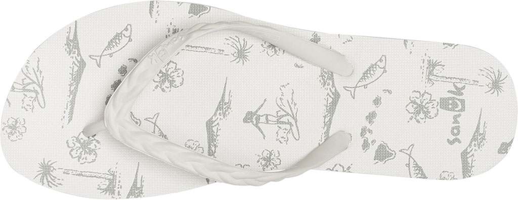 Women's Sanuk Slim Braidy Hawaii Flip Flop, White Rubber, large, image 5