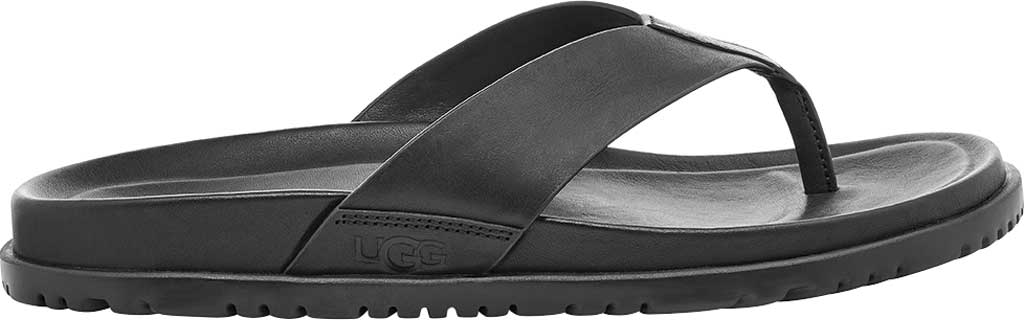 Men's UGG Wainscott Flip Flop, Black Full Grain Leather, large, image 1