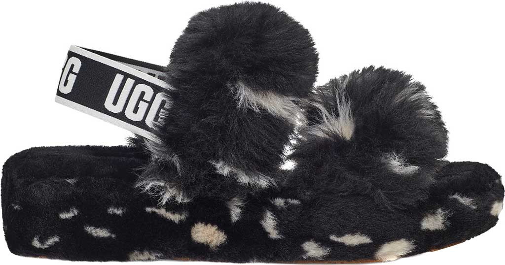 Women's UGG Oh Yeah Spots Slingback Slipper, Black Faux Shearling, large, image 2