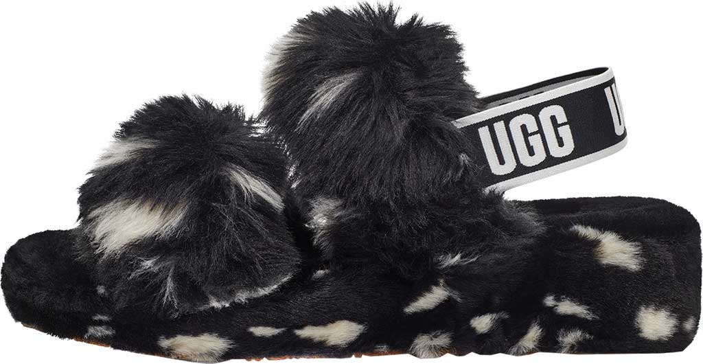 Women's UGG Oh Yeah Spots Slingback Slipper, Black Faux Shearling, large, image 3