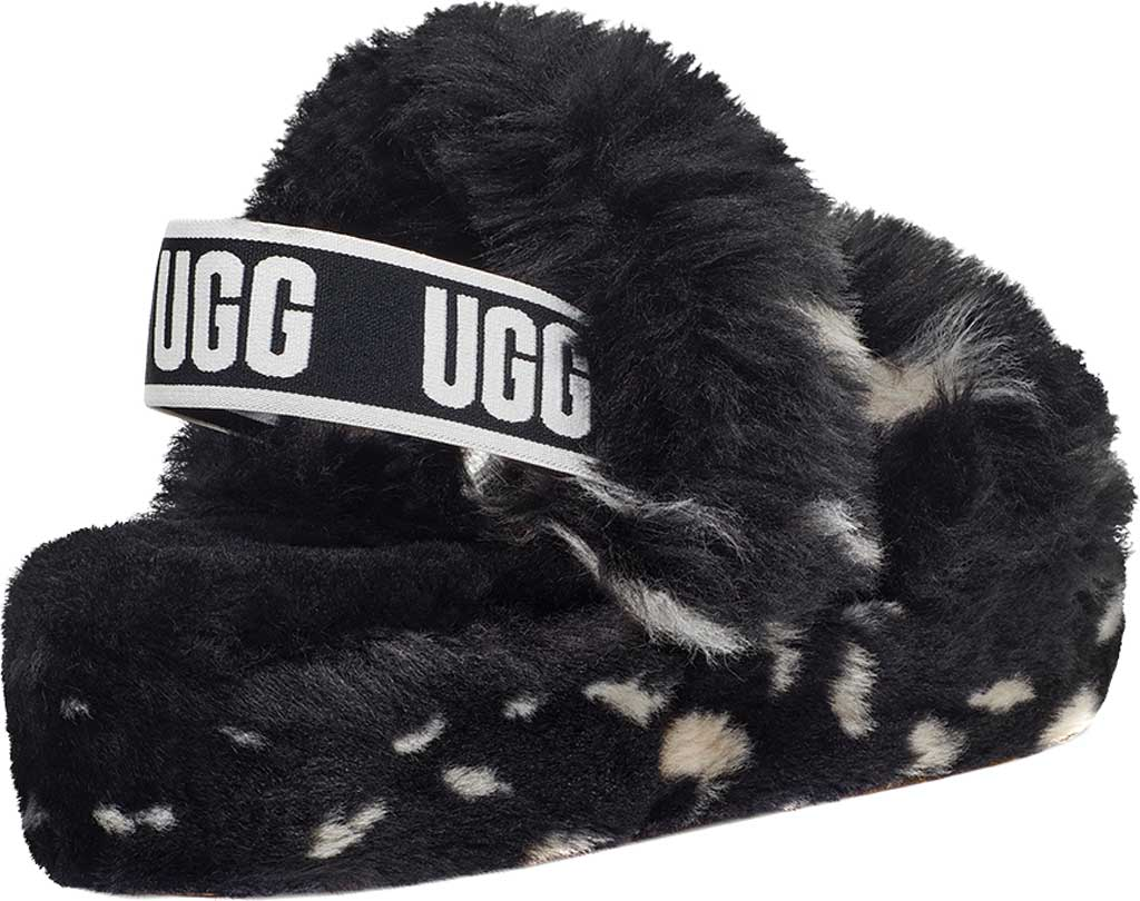 Women's UGG Oh Yeah Spots Slingback Slipper, Black Faux Shearling, large, image 4