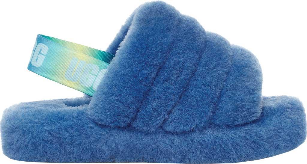 Girls' UGG Fluff Yeah Slingback Slipper, Mystic Blue Gradient Sheepskin, large, image 2