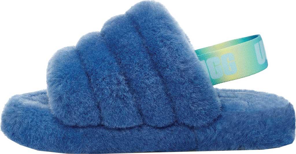 Girls' UGG Fluff Yeah Slingback Slipper, Mystic Blue Gradient Sheepskin, large, image 3
