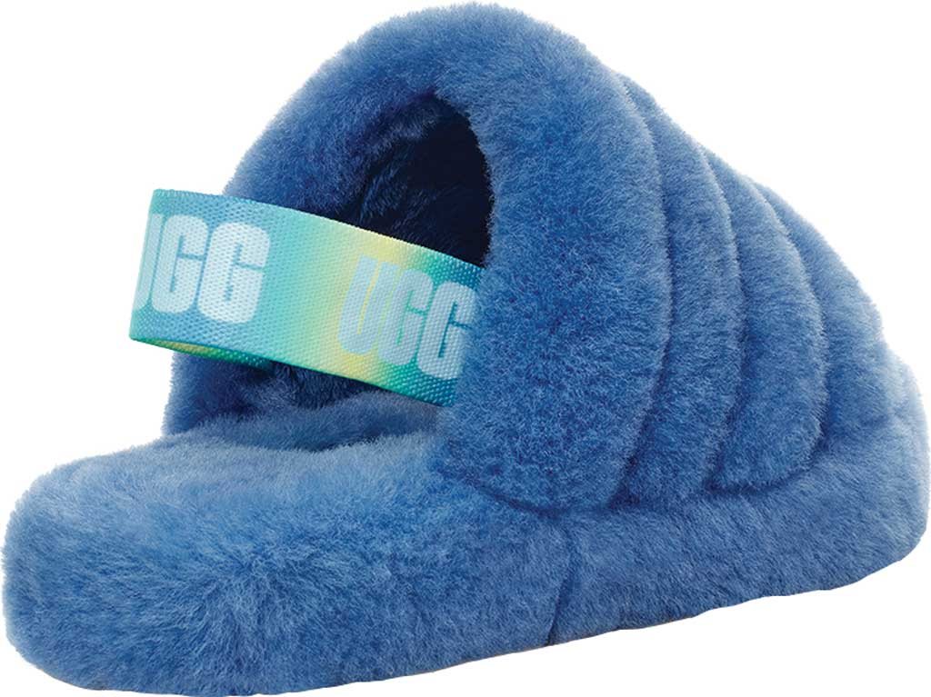 Girls' UGG Fluff Yeah Slingback Slipper, Mystic Blue Gradient Sheepskin, large, image 4