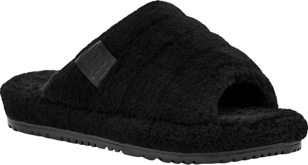 Men's UGG Fluff You Slide Slipper, Black TNL Fluff Wool, large, image 1