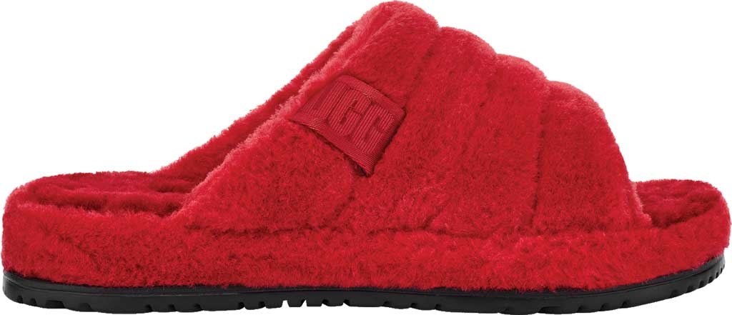 Men's UGG Fluff You Slide Slipper, Samba Red Fluff Wool, large, image 2