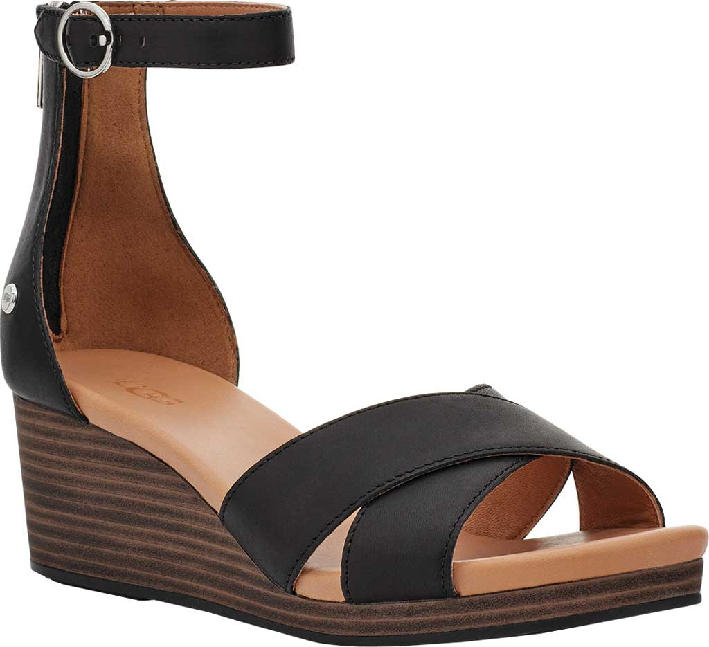 Women's UGG Eugenia Ankle Strap Wedge Sandal, Black Cow Leather, large, image 1