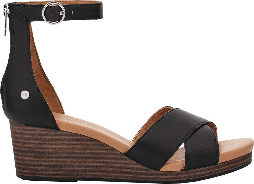 Women's UGG Eugenia Ankle Strap Wedge Sandal, Black Cow Leather, large, image 2