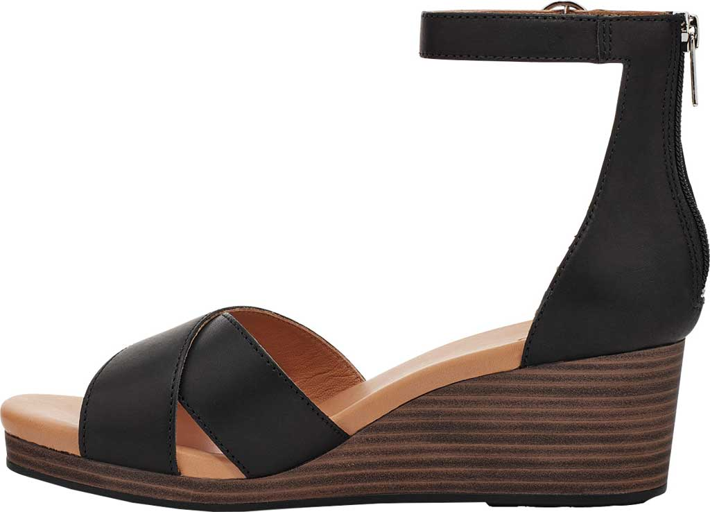 Women's UGG Eugenia Ankle Strap Wedge Sandal, Black Cow Leather, large, image 3