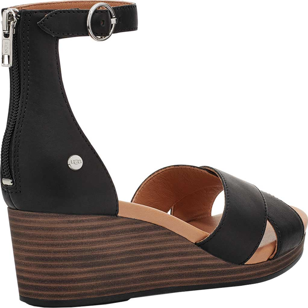 Women's UGG Eugenia Ankle Strap Wedge Sandal, Black Cow Leather, large, image 4