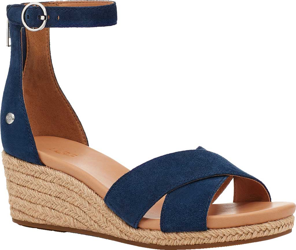Women's UGG Eugenia Ankle Strap Wedge Sandal, Navy Cow Suede, large, image 1