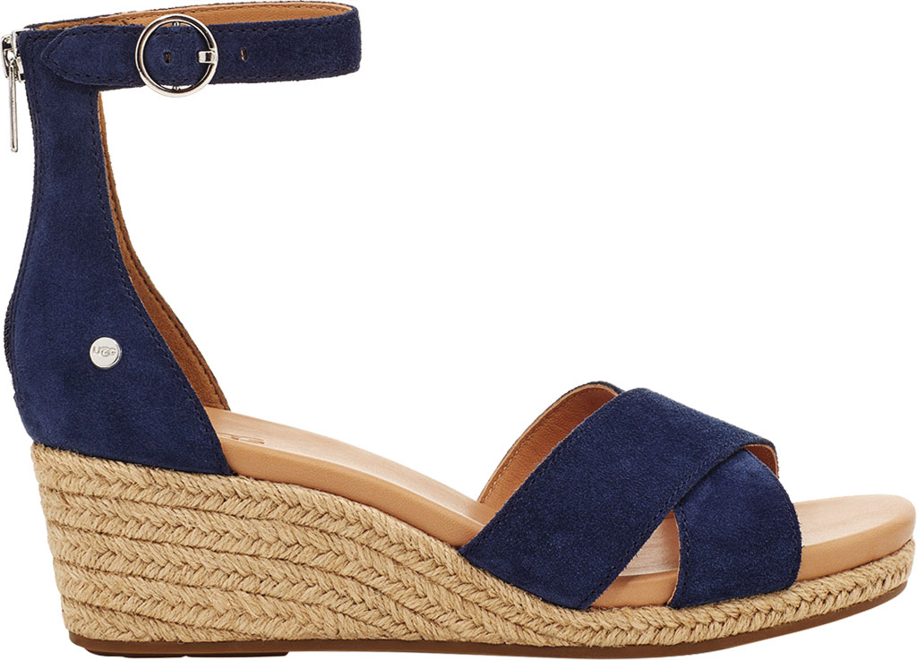 Women's UGG Eugenia Ankle Strap Wedge Sandal, Navy Cow Suede, large, image 2