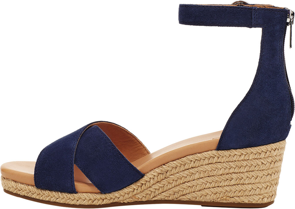 Women's UGG Eugenia Ankle Strap Wedge Sandal, Navy Cow Suede, large, image 3