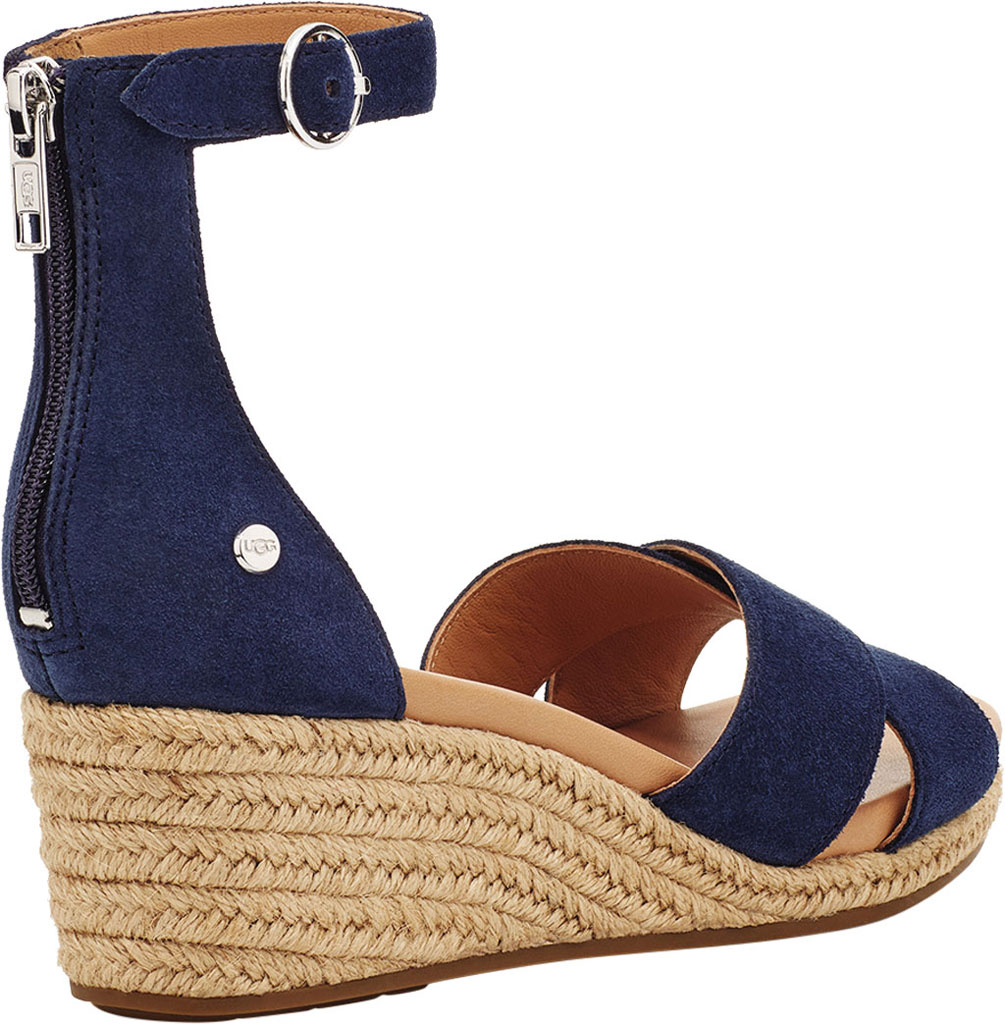 Women's UGG Eugenia Ankle Strap Wedge Sandal, Navy Cow Suede, large, image 4