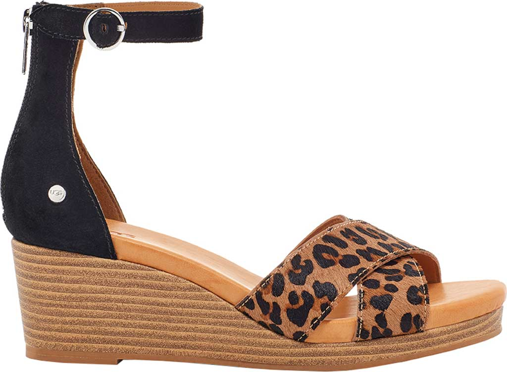 Women's UGG Eugenia Ankle Strap Wedge Sandal, Black Suede/Tan Cow Hair, large, image 1