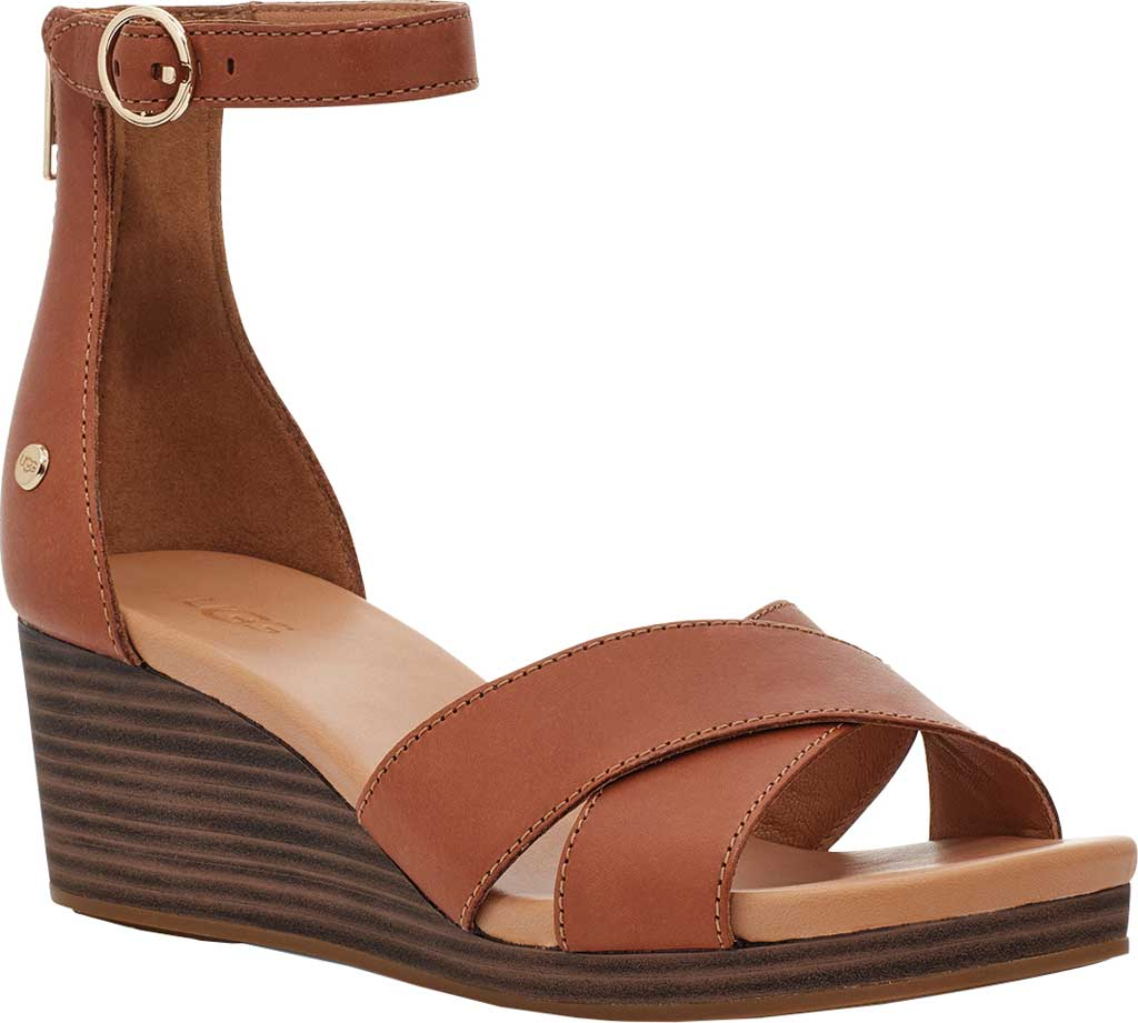 Women's UGG Eugenia Ankle Strap Wedge Sandal, Tan Cow Leather, large, image 1