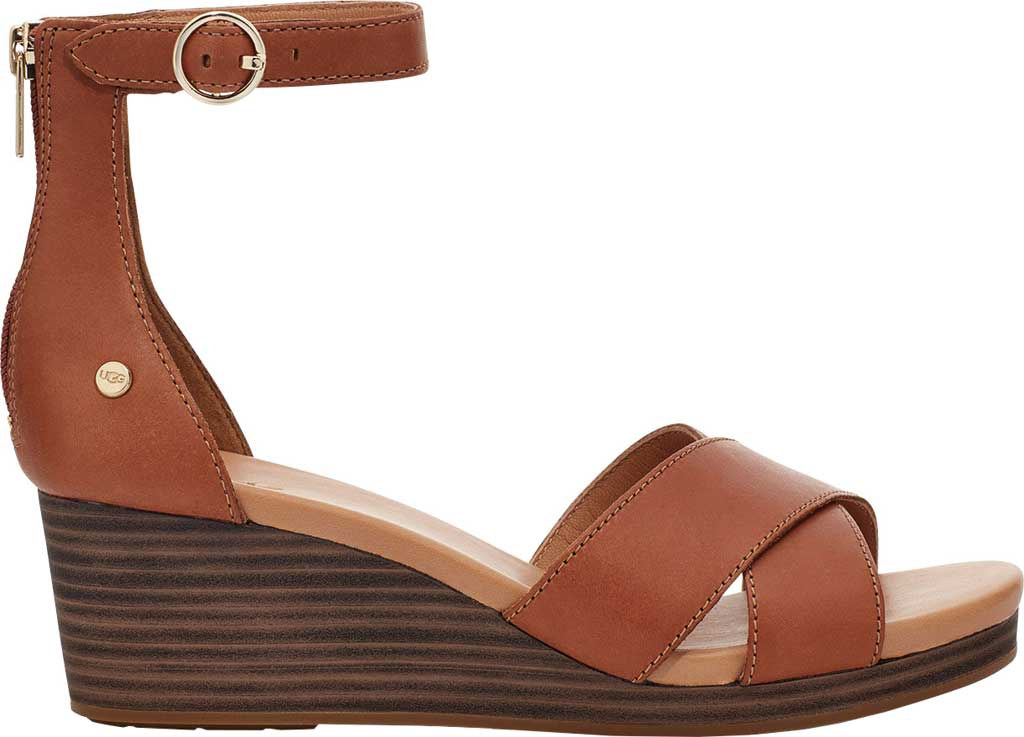 Women's UGG Eugenia Ankle Strap Wedge Sandal, Tan Cow Leather, large, image 2