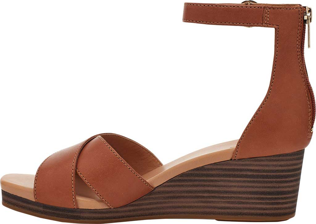 Women's UGG Eugenia Ankle Strap Wedge Sandal, Tan Cow Leather, large, image 3