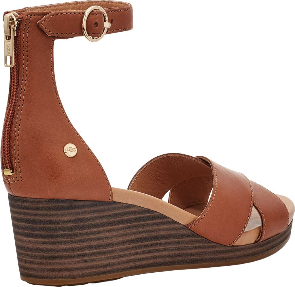 Women's UGG Eugenia Ankle Strap Wedge Sandal, Tan Cow Leather, large, image 4