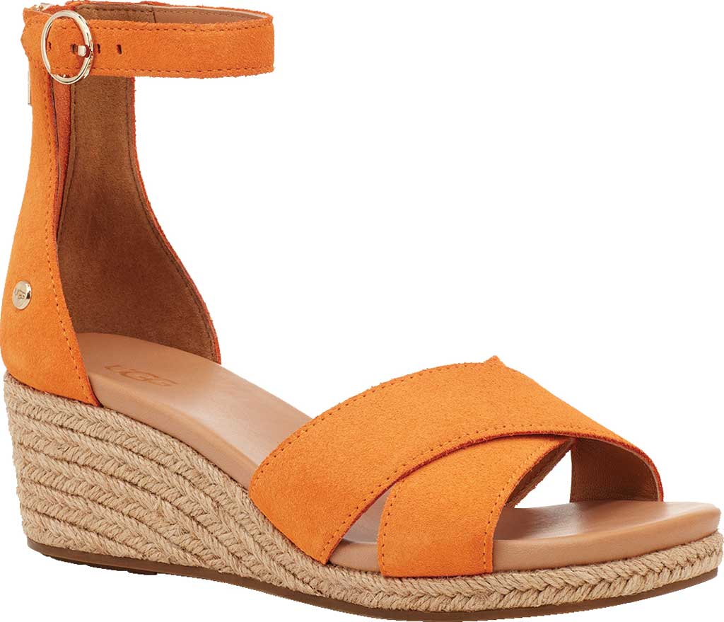 Women's UGG Eugenia Ankle Strap Wedge Sandal, California Poppy Cow Suede, large, image 1