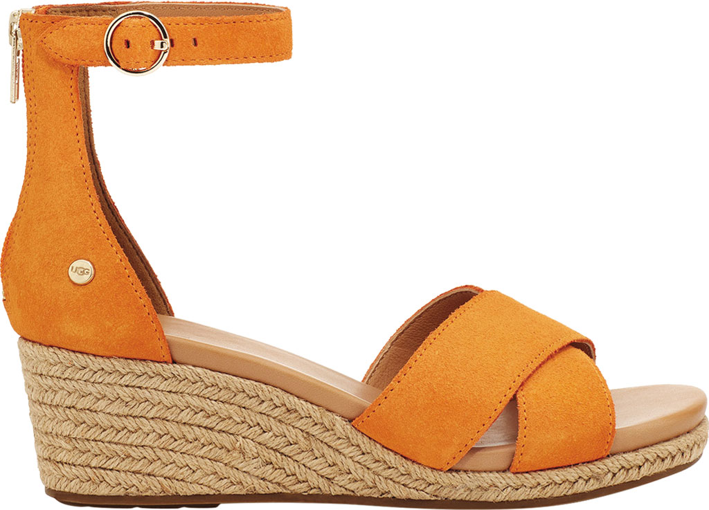 Women's UGG Eugenia Ankle Strap Wedge Sandal, California Poppy Cow Suede, large, image 2
