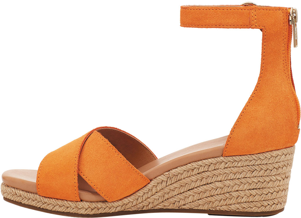 Women's UGG Eugenia Ankle Strap Wedge Sandal, California Poppy Cow Suede, large, image 3