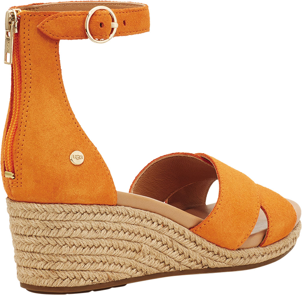 Women's UGG Eugenia Ankle Strap Wedge Sandal, California Poppy Cow Suede, large, image 4