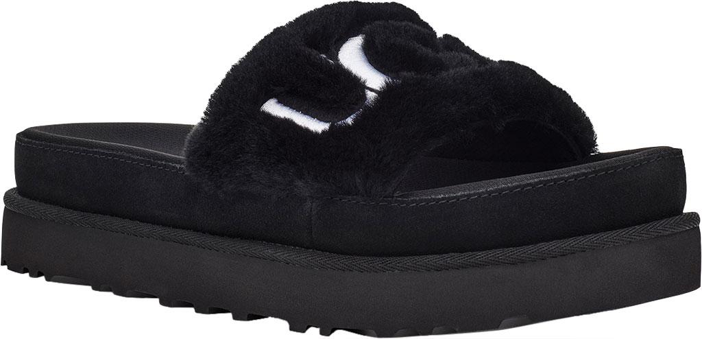 Women's UGG Laton Furry Platform Slide, Black Sheepskin, large, image 1