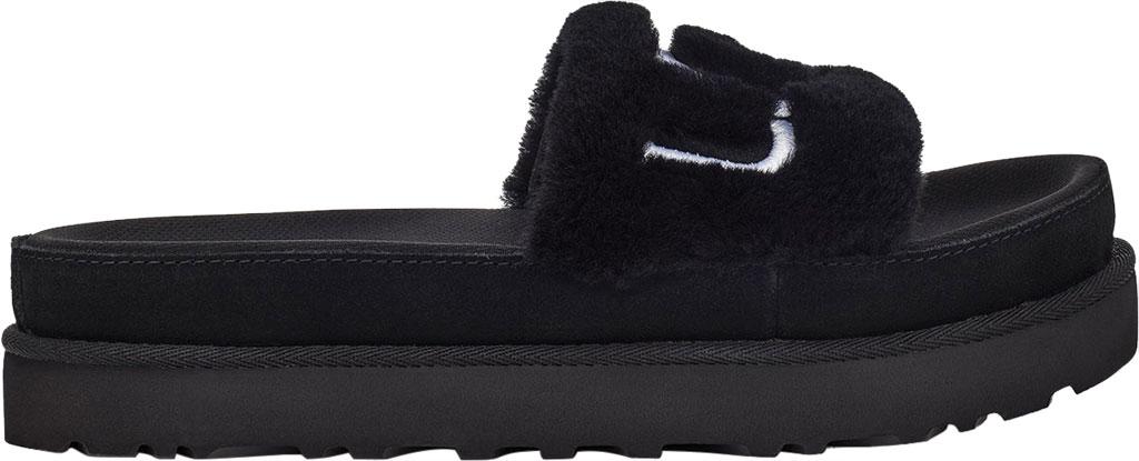 Women's UGG Laton Furry Platform Slide, Black Sheepskin, large, image 2