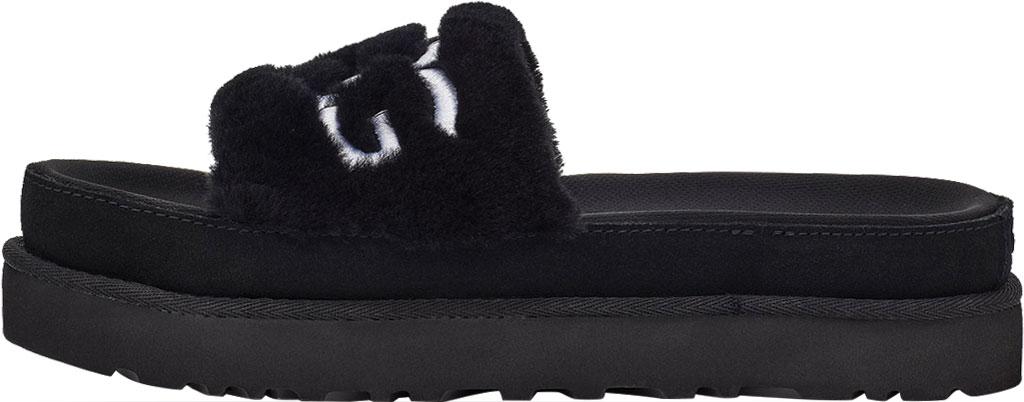 Women's UGG Laton Furry Platform Slide, Black Sheepskin, large, image 3