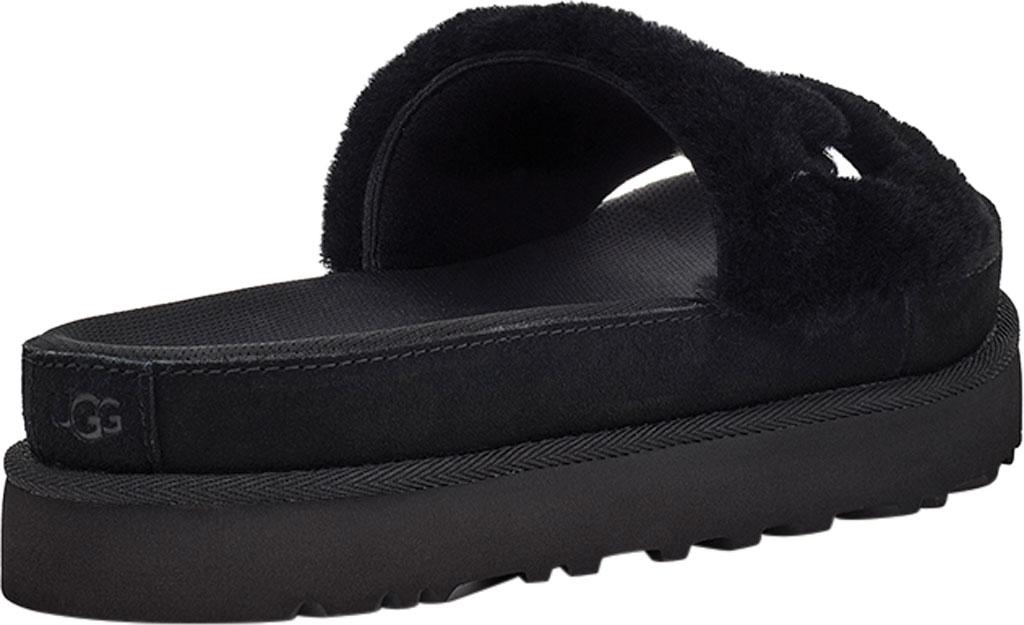 Women's UGG Laton Furry Platform Slide, Black Sheepskin, large, image 4